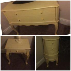 Bedroom furniture set shabby chic vintage bedside table chest drawers