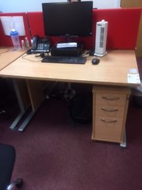 Office desks , pedestals and screen dividers