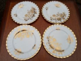 Royal Albert 4 Gold White Vintage China Tea Plates Cake Afternoon Tea Christmas Guests Wedding Party