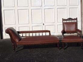 antique chaise longue with matching chair