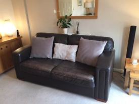 Large brown leather 3 piece suite for sale - £350 ovno