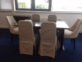 As new, Laura Ashley extending dining room table and 6 upholstered chairs
